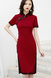 2020 Button Through Midi Cheongsam / Qipao Party Dress