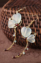 Heart Jade Long Drop Dangle Earrings