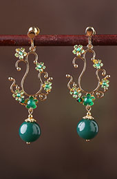 Green Agate Jade Drop Dangle Earrings Clip on Earrings