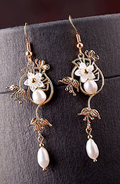 Pear Petals Drop Dangle Earrings Clip on Earrings
