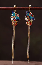 Cloisonne Alloy Tassel Long Drop Dangle Earrings