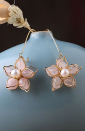 Pink Crystal Petals Drop Dangle Earrings