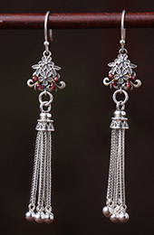 Long Drop Silver Tassel Dangle Earrings