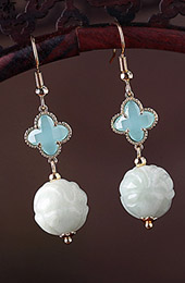 Blue Crystal Jade Drop Dangle Clip On Earrings