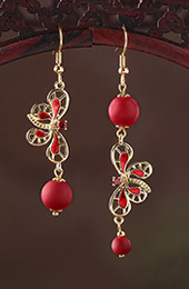 Red Glazed Stone Drop Dangle Clip On Earrings