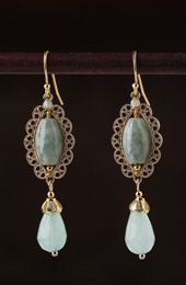 Green Jade Drop Dangle Clip On Earrings