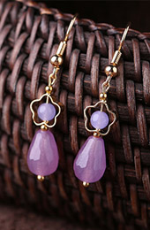 Purple Jade Drop Dangle Clip On Earrings