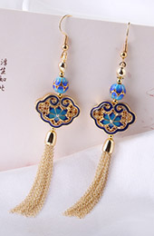 Cloisonne Tassel Drop Dangle Pierced Clip On Earrings