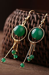 Green Agate Hoop Drop Dangle Clip On Pierced Earrings