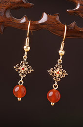 Red Agate Drop Dangle Clip On Pierced Earrings