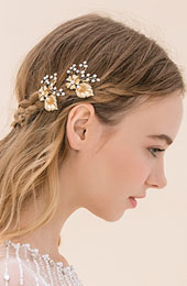 Gilded Metal Floral Petals with Crystal Hairpin Set