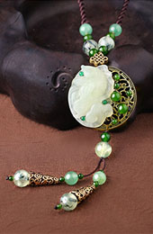 Handmade Adjustable String Jade Lucky Buckle Necklace