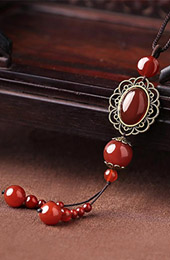 Handmade Red Agate Beads Pendant Necklace