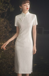 White Lace Midi Modern Cheongsam / Qipao Dress