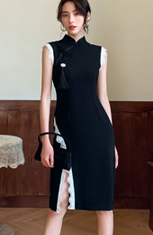 Black Midi Linen Qipao / Cheongsam Dress with Lace Trim