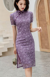 Purple Floral Modern Qipao / Cheongsam Dress