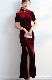 Wine Red Split Fishtail Qipao / Cheongsam Party Dress