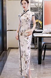 Pink Floral Ankle Length Qipao / Cheongsam Party Dress
