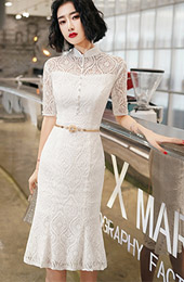White Lace Modern Midi Cheongsam / Qipao Party Dress