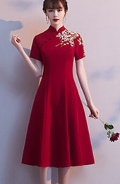 Burgundy Embroidered A-Line Qipao / Cheongsam Wedding Dress