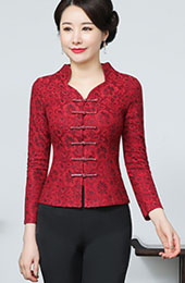 Mother's Wedding Red Lace Cheongsam Jacket Blazer