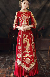 Beaded Embroidered Phoenix Wedding Qun Kwa with Pleated Skirt