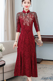 Mother's Appliques A-Line Qipao / Cheongsam Prom Dress