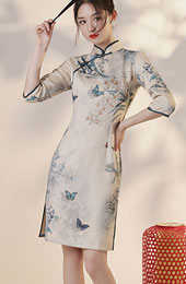 Winter Printed Floral Suede Qipao / Cheongsam Dress