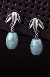 Silver Jade Drop Dangle Pierced Earrings