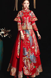 Red Gorgeous Embroidered Phoenix Wedding Qun Kwa