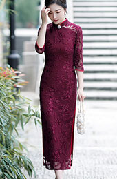 Red Floral Mother's Velvet Long Qipao / Cheongsam Dress