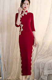 Red Blue Winter Qipao / Cheongsam Wedding Dress
