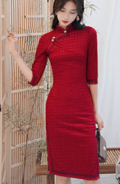 Red Winter Midi Wedding Qipao / Cheongsam Dress