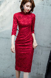 Winter Red Lace Midi Wedding Cheongsam / Qipao Dress