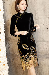 Embroidered Velvet Mother's Winter Cheongsam / Qipao Dress