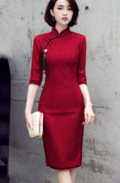 Wine Red Lace Midi Qipao / Cheongsam Party Dress