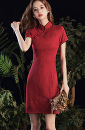 Red Short Wedding Cheongsam / Qipao Party Dress