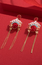 Beijing Opera Mask Drop Tassel Dangle Earrings