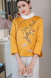 Yellow Embroidered Women Qipao Tang Coat