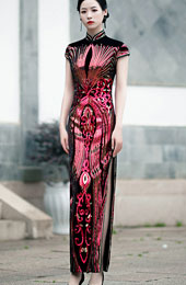 Red Green Sequined Velvet Ankle-Length Qipao / Cheongsam Dress