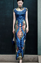 Blue Green Sequined Maxi Qipao / Cheongsam Party Dress