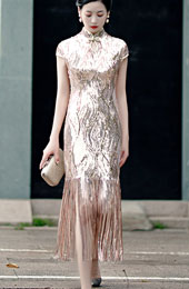 Sequined Tassel Hem Qipao / Cheongsam Party Dress