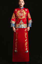 Embroidered Dragon Phoenix Man Wedding Suit, Jacket & Skirt