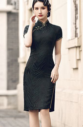 2021 Spring Black Cheongsam / Qipao Party Dress