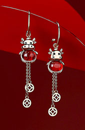 Zodiac Animals Ox Year Crystal Drop Dangle Earrings