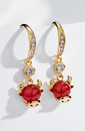 Zodiac Animals Ox Year Zircon Drop Dangle Earrings