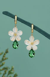 Petals Green Crystal Drop Dangle Earrings
