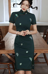 2021 Summer Embroidered Green Yellow Qipao / Cheongsam Dress