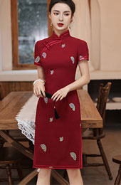 2021 Summer Embroidered Red Qipao / Cheongsam Dress