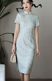 2021 Blue Yellow Lace Short Qipao / Cheongsam Dress